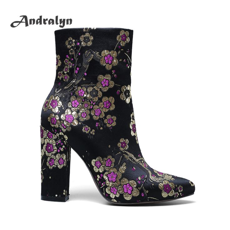 Cheap boot shoes, Buy Quality boots fashion directly from China fashion boots Suppliers: Andralyn Autumu/winter women mid-calf boots handmade embroider fabric high heels pointed toe ladies fashion Half Boots shoes