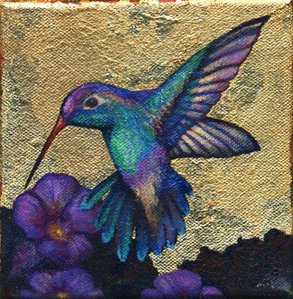 "Three Little Birds. Hummingbird. Acrylics and gilding on canvas. 6"" x 6"""