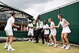 Tim Henman with youngsters