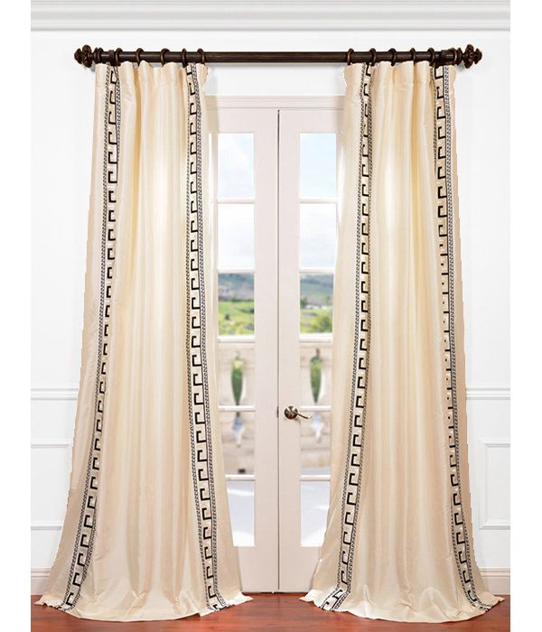 Get Greco Ivory Embroidered Faux Silk Curtains U0026 Drapes In Great Offers