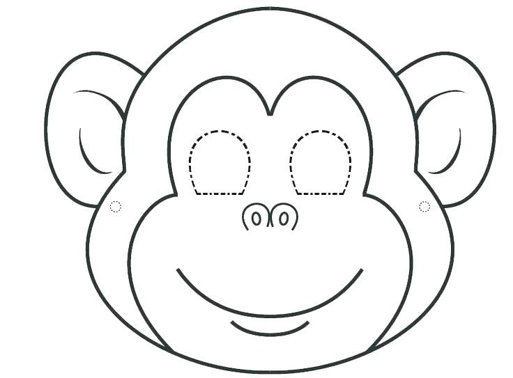 Animal Faces Coloring Pages Monkey Face Page Best Mask Ideas On