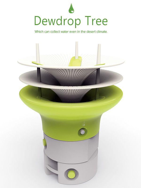 Le designer Taesik Yoon a inventé Dewdrop Tree, une unité de collecte d'eau qui sera capable de piéger la rosée du matin.