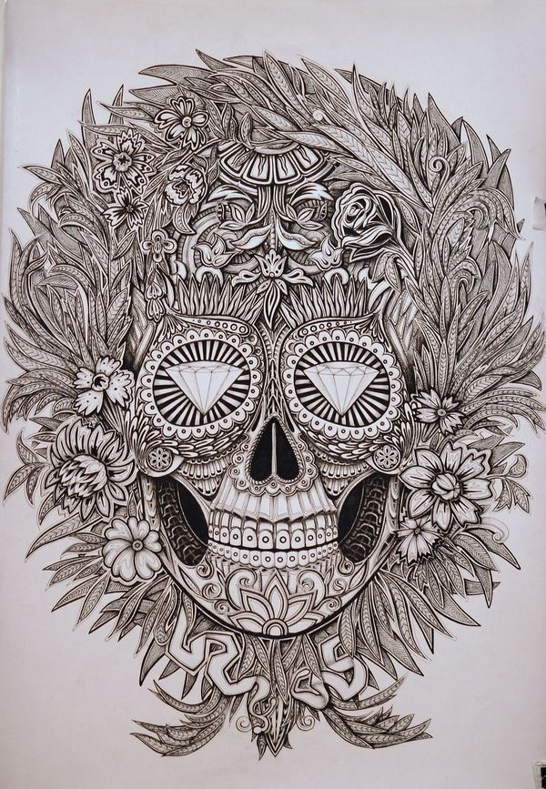 Mexican skull by Alex Konahin, via Behance