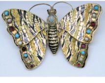Antico medaglione vittoriano spilla farfalla 14k oro gemme smalto in movimento (#5976)