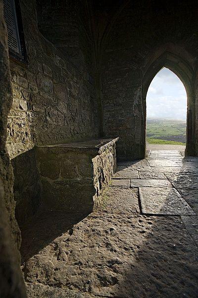 Inside St. Michael's Tower on Glastonbury Tor, Somerset, UK
