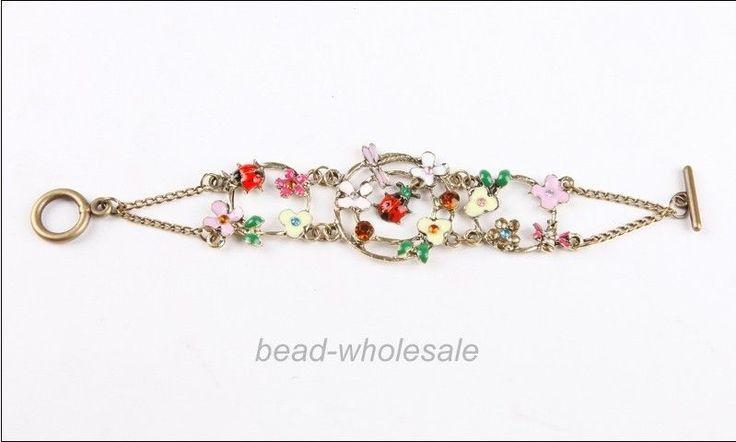 New Pretty Retro bronze colour flower dragonfly ladybug bee bracelet #Unbranded #Bangle