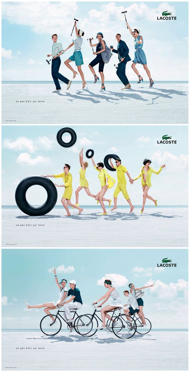 Lifestyle: This Lacoste add is very busy but it works. It gives out the image that the brand likes to express. It likes its customers to feel like they can partake in any activity. Showing these activities in the ad shows ideas that can take place. Having the ad being bright grabs the attention of the audience.