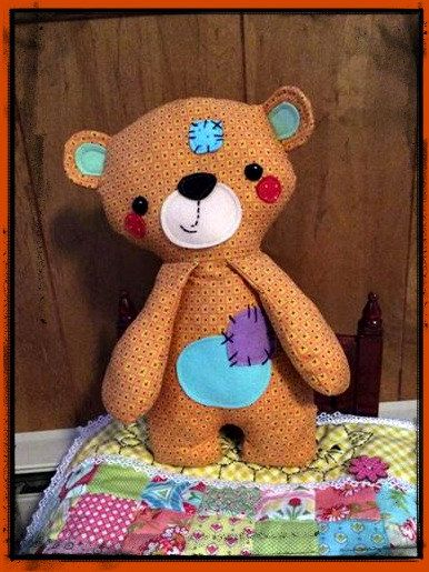 Handmade Teddy Bear named Patches great for by MimiskidsTreasures