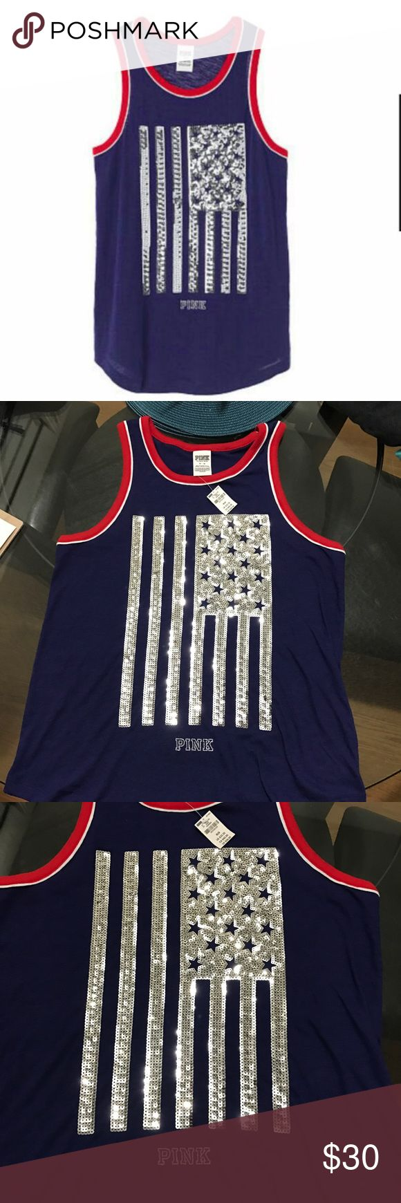Victoria's Secret PINK Americana bling tank NWT PRICE IS FIRM! Offers will be ignored!  Victoria's Secret Pink Americana 4th of July tank top Bling sequins flag design on front.   Runs oversized  Size MEDIUM  Retail $36.95 PINK Victoria's Secret Tops Tank Tops