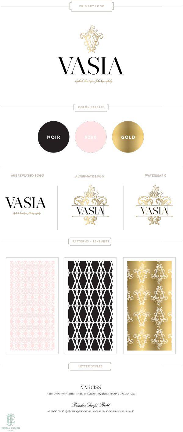 VASIA Photography Branding by Emily McCarthy, Blush, Black, Gold, Brand, Wedding, Photographer