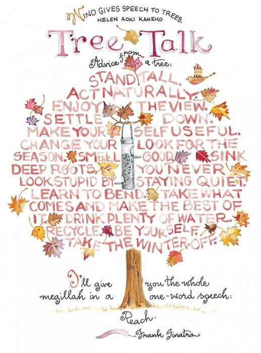 Words to live by.  great quotes.  positive. tree talk (from Susan Branch):