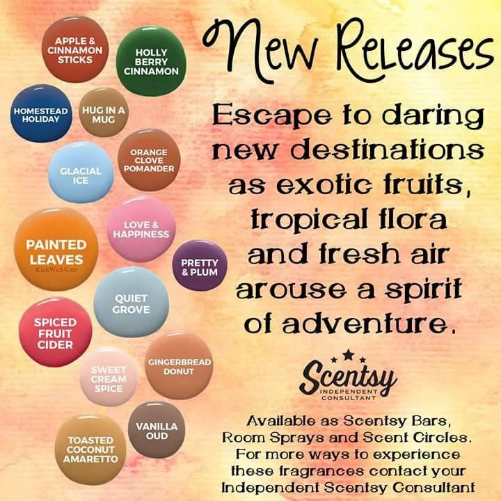 Scentsy's New Release fragrances for fall and winter 2017 #wickless #candles #wax #warmers #scentsbykris