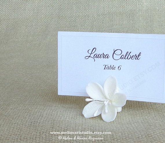 Place Card Holders - Handmade Cold Porcelain Cherry Blossom by melimaristudio.etsy.com