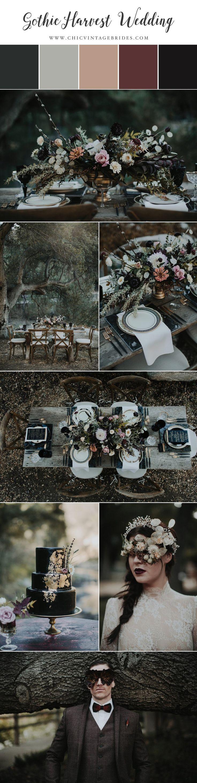 Gothic Harvest Wedding || Halloween Wedding Inspiration || Dark & Moody Wedding || Vintage Wedding
