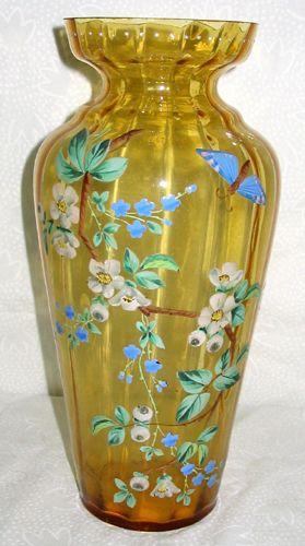 MOSER AMBER & ENAMELED GLASS VASE, CIRCA 1895,