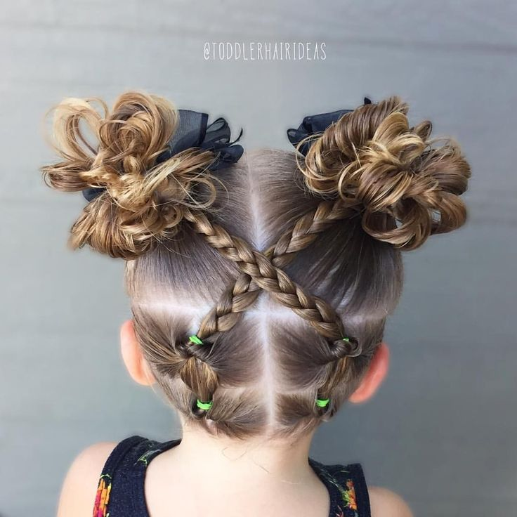 Toddler hair style - topsy tails, criss crossing braids, messy buns