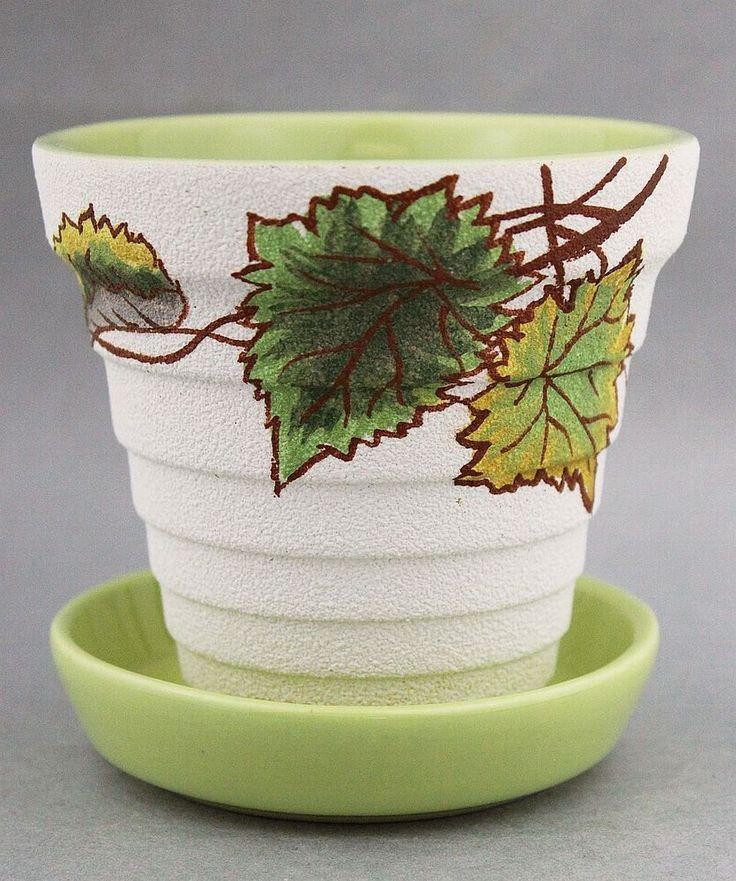 DIANA Australian Pottery Plant Pot & Saucer Green 50s 1950s Vintage Garden