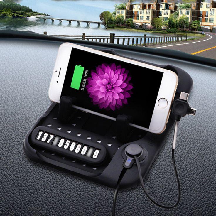 Carica universale Multi-funzionale Magnetico Di Silicone Tappetino Antiscivolo Navigazione Per Auto Del Telefono Mobile Caricatore USB Con Parcheggio carta