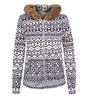 Blue Pattern (Blue) Hudson and Rose Blue and White Aztec Faux Fur Trim Hoodie | 289669049 | New Look