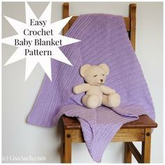 Learn how to Crochet an Easy Baby Blanket Ideal for Beginners Simple Double Crochet Stitch (US) or Triple Crochet (UK) Step by step use this as an easy quick crochet blanket pattern.