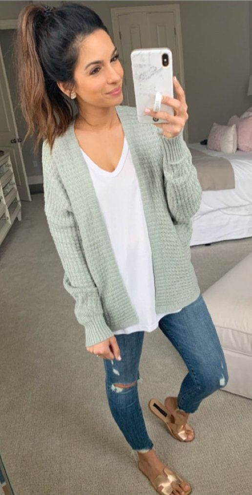 gray cardigan #spring #outfits