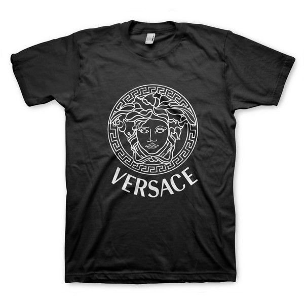 Versace Shirt Men Women, Color Black and White ($17) ❤ liked on Polyvore featuring tops, t-shirts, shirts, cotton t shirt, henley shirt, black and white striped shirt, unisex t shirts and men shirts