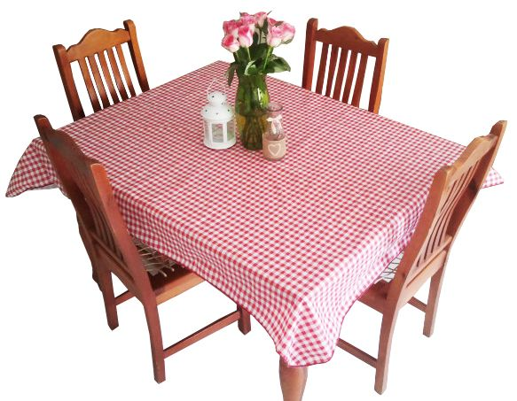 Tablecloth PEVA with flannel back.  Great for kids (or adults!) parties, wipe clean top.  Also good for protecting your table when scrap-booking or doing other similar activities.  Various sizes available from 152 cm to 213 cm in round, square and rectangular.  Red and white check pattern.