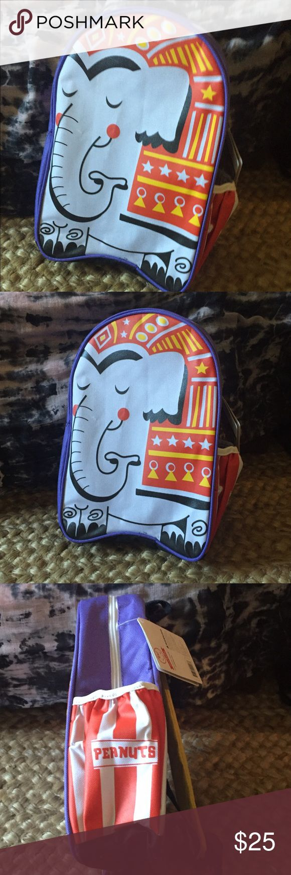 """Kids Canvas Elephant Backpack 12"""" x 9"""" NWT. Great for school and travel - made of a durable, woven polyester with a circus elephant design. Has a water bottle pocket, padded and adjustable straps and a secret nameplate inside. New with tags. Accessories Bags"""