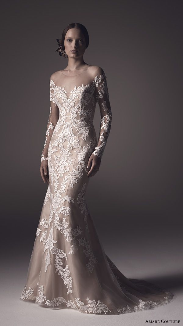 amare couture ss 2016 long sleeves illusion jewel sweetheart neckline fully embellished lace white ivory caramel color elegant dramatic fit flare wedding dress sheer back sweep train (harper) mv