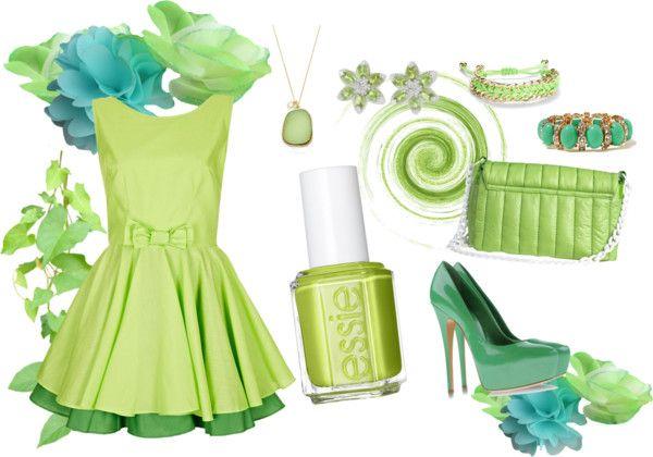 Outfit in lime green with an #Essie nail polish for their giveaway // Vestido verde lima con zapatos y complementos a juego y su esmalte de Essie