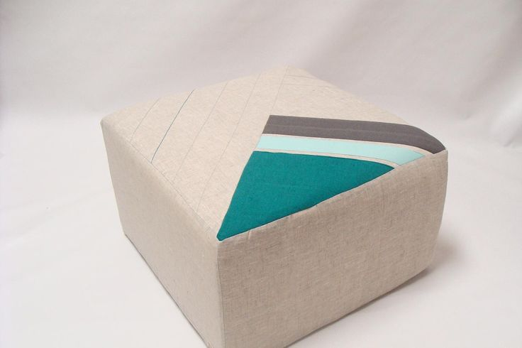 /Cream /Teal/Grey/Color Block Pouf/Floor Pouf/Sturdy Seating/Unique ...