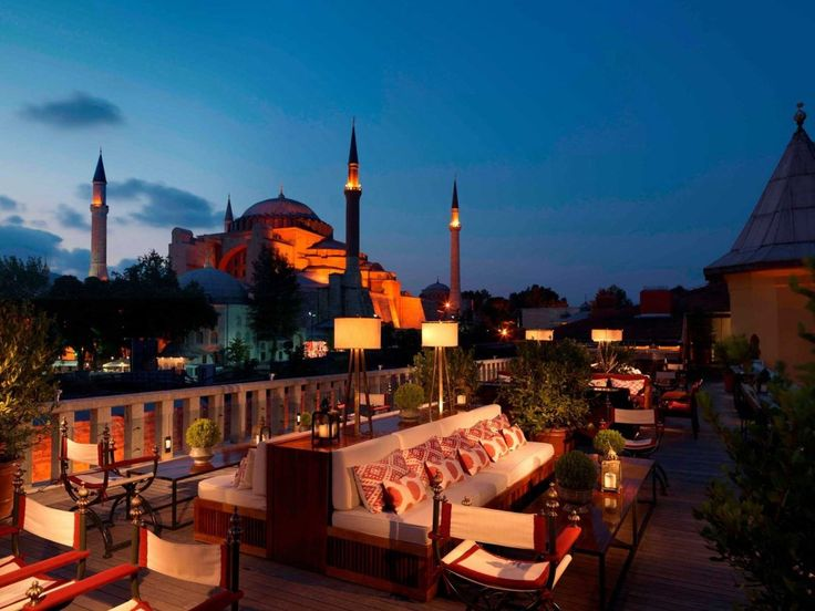 Four Seasons Hotel, Istanbul (Sultanahmet, Istanbul). The hotel's location is in the heart of Sultanahmet. The city's greatest monuments—the Hippodrome, the Blue Mosque, and Topkapi Palace—are less than a five-minute walk from the lobby. Just by stepping onto the hotel's roof terrace, you'll have immediate views across the Sea of Marmara during the day and the illuminated Hagia Sophia at night.