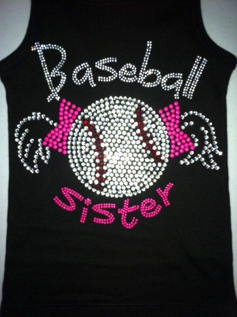 Baseball Sister Rhinestone Bling Tank or tee by SomethingGlitzy, $12.99