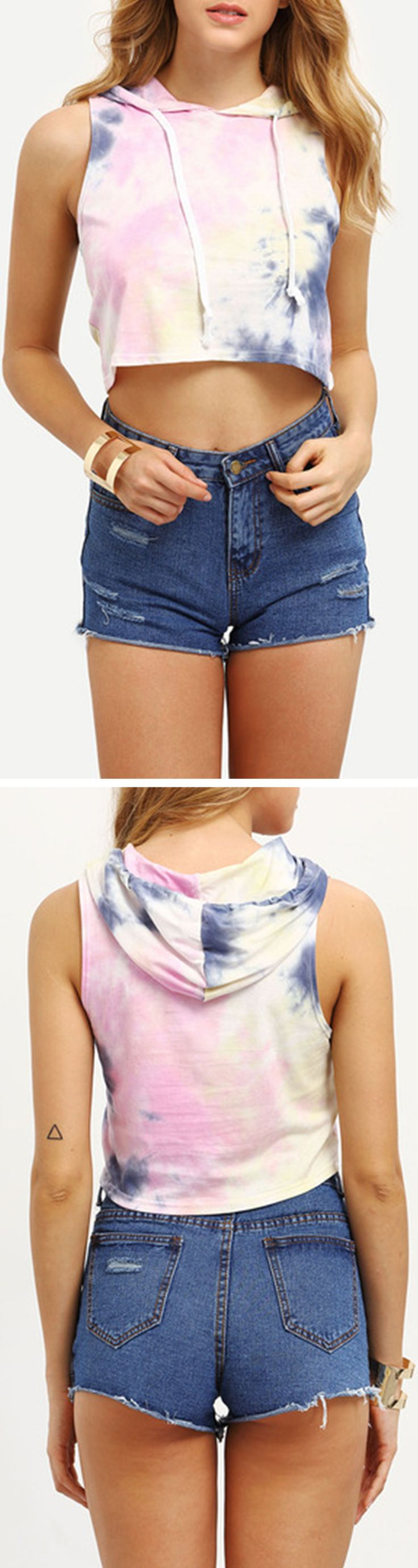 Tie Dye Print Hooded Crop Tank Top. Street fashion crop top. Great for shopping or beach travel.