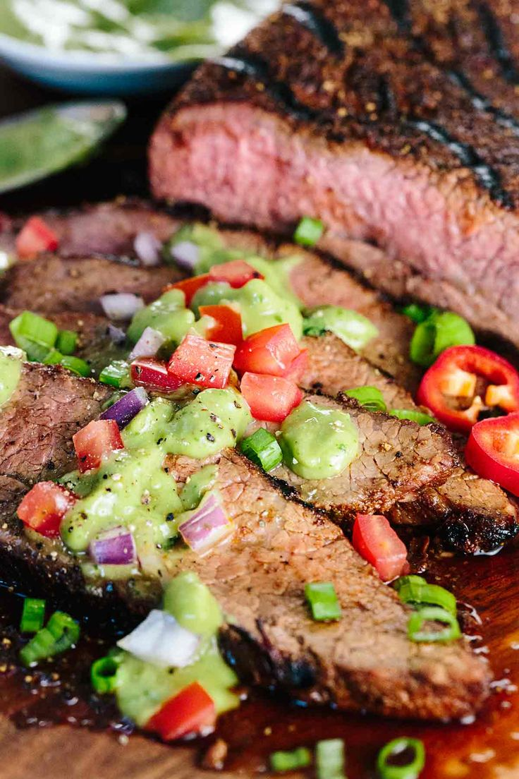 Juicy Grilled Tri-Tip with Creamy Avocado Salsa - Mexican spice rubbed tri-tip beef and avocado salsa verde sauce is the perfect meal to enjoy outdoors! | jessicagavin.com