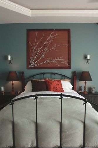 Spray paint branch in light color, paint canvas in darker color, hot glue branch to canvas