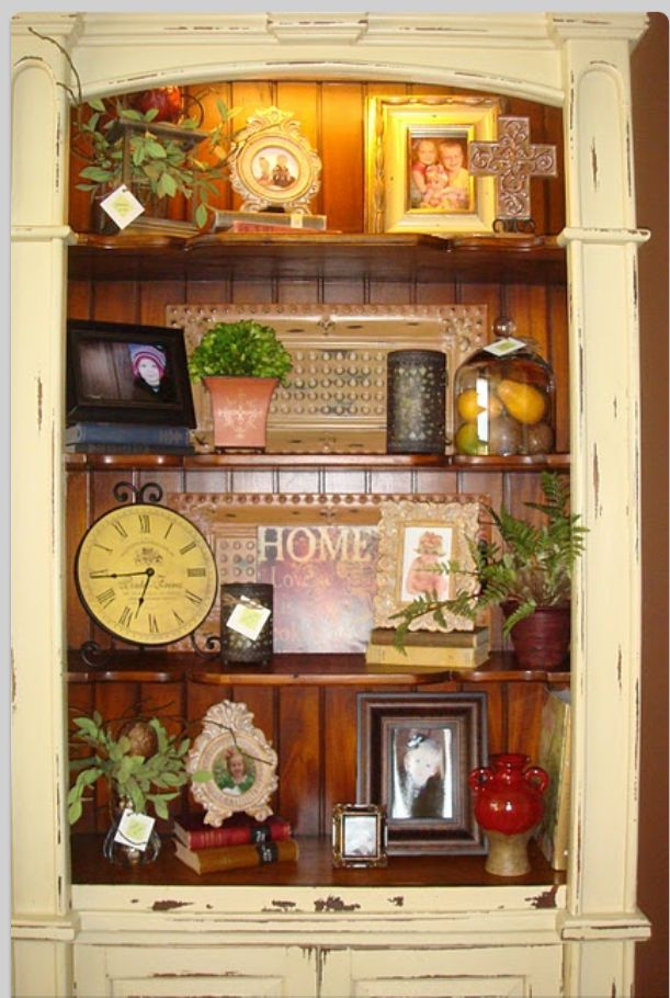 Painted hutch bookshelves leave inside unpainted paint furniture projects pinterest Southern home decor on pinterest