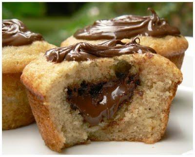 Muffins à la banane coeur de nutella