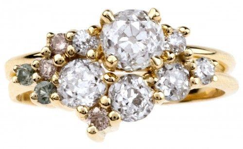 Custom Ombré Heirloom Cluster Ring Set. I love this clustered gem style!!