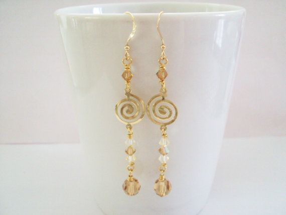 Grecian Swarovski Golden crystal dangly earrings in gold plated brass