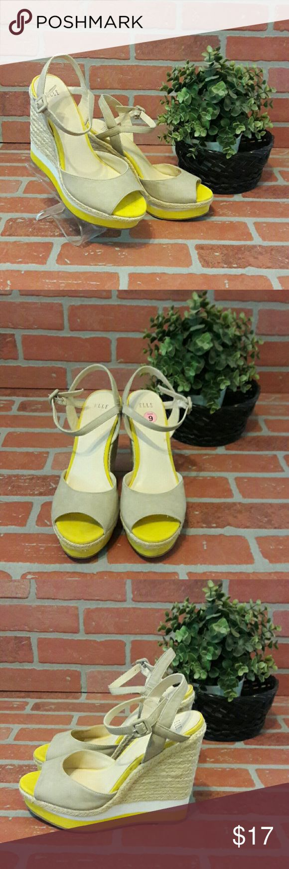 """ELLE Wedge Sandals Need a boost? With these 5.5"""" wedge you'll be the right height for your date. Peep toe, ankle strap, braided wedge with stripes. Gently worn, priced accordingly.   Brand: ELLE Size: 9 Made in China   Yellow/White/Tan  Please ask any & all questions before purchasing. Elle Shoes Wedges"""