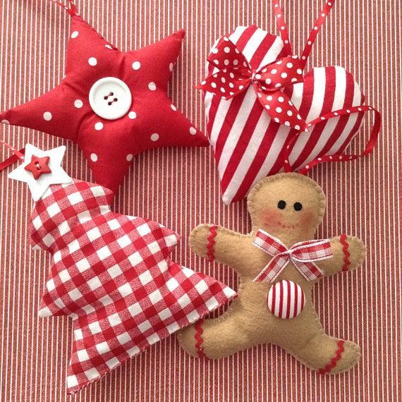 Christmas Ornaments / Xmas Fabric Red and White Or…