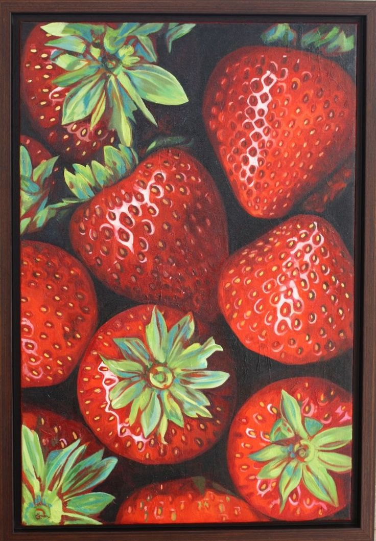 Strawberries XII, Oil painting by Hannah Bruce | Artfinder