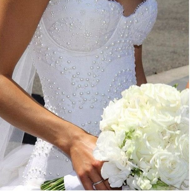 Beautiful Pearl Bodice of the wedding gown