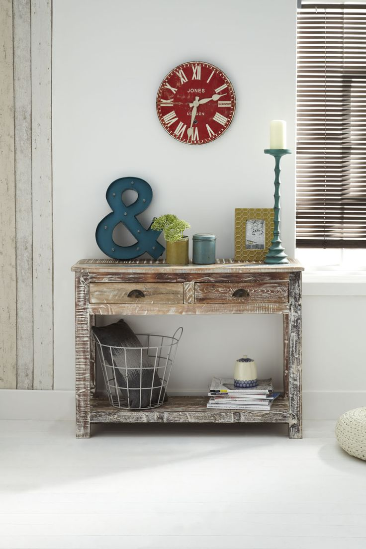 Legacy Console Table - Characterful reclaimed painted console table. A very practical unit featuring two drawers and undershelf. http://dennest.com/livingroom/77-legacy-console.html
