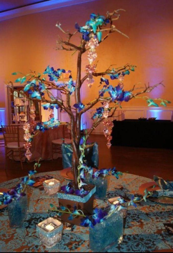 Blue orchid centerpiece