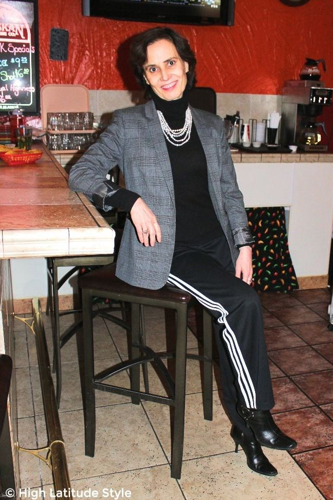#fashionover40 midlife woman in fake suit with Adidas jogging pants and blazer