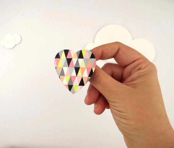 Heart Brooch Geometric
