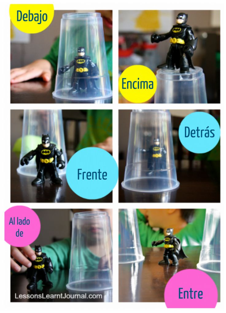 Preposiciones: Prepositional Phrases, Idea, Prepositional Activities, Teaching Prepositional, Clear Cups, Action Figures, Language, Prepositional Games, Kid