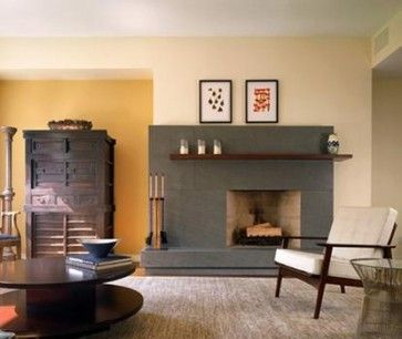 grey fireplace with wood mantel   Modern Living room   Pinterest